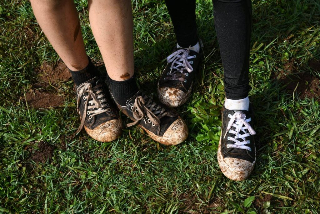 muddy students shoes